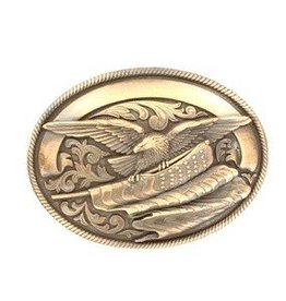 M & F Belt Buckle - Oval Rope Edge Eagle Flag