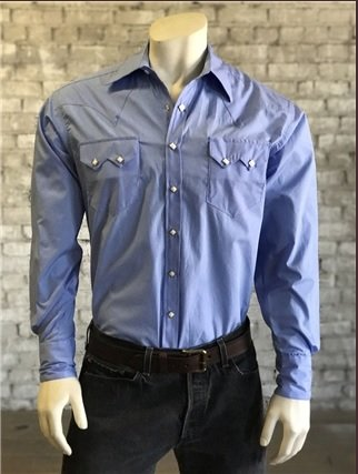 d5a31c58d26 Men s Rockmount Solid Blue Shirt - Gass Horse Supply   Western Wear