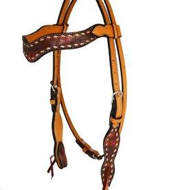 Alamo Sleek Wave Overlay Headstall Copper Horse