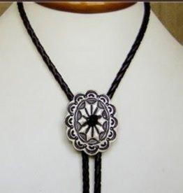 Rockmount Bolo Tie - Silver Oxide Concho Black