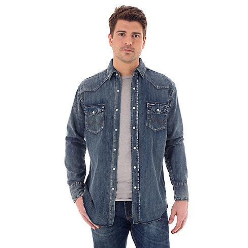 35e1559fe50 Men s Wrangler Cowboy Cut® Long Sleeve Western Snap Indigo Slub Denim Shirt