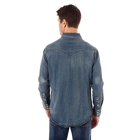 de6a903115f ... Wrangler Men s Wrangler Cowboy Cut® Long Sleeve Western Snap Indigo  Slub Denim Shirt