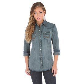 Wrangler Women's Wrangler Long Sleeve Western Snap Front Denim Top