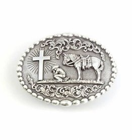 Nocona Belt Buckle - Oval Dot Edge Praying Cowboy