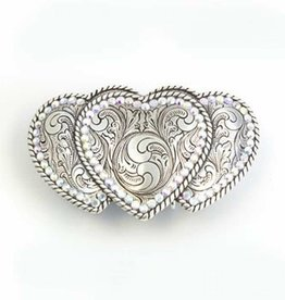 M & F Belt Buckle - Triple Hearts Rope Edge