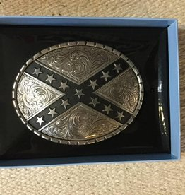 M & F Belt Buckle - Oval/Ribbon Star
