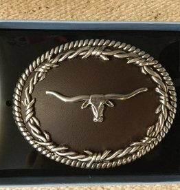 M & F Belt Buckle - Oval Longhorn Brown/Silver