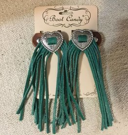 Central Texas Leather Boot Candy Toppers Turquoise Heart