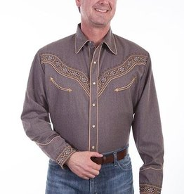 Scully Men's Scully Embroidered Heather Brown