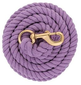 Weaver 10' Braided Cotton Lead - Brass Snap Lavender