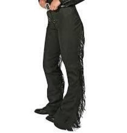 Royal Highness Children's Black Ultra Suede Leather Fringe Chaps