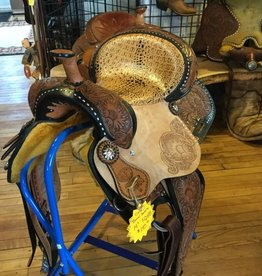 "Circle J 14"" Barrel Saddle Tri-Colored with Faux Crocodile Seat - FQHB"