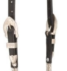 Silver Royal Ferruled Silver Show Collection, Double Ear Headstall - Black