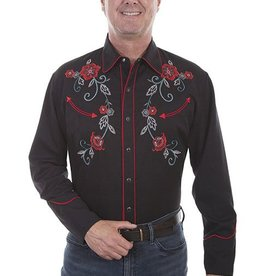 Scully Men's Scully Floral Vine Embroidery, Black
