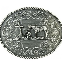 Western Fashion Accessories Belt Buckle -Western Edge Christian Cowboy with Oval Antique Silver