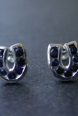 Baron Silver Earrings - Sapphire Horseshoe