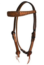 Alamo Alamo Contoured Headstall Toasted with Black Buckstitch and Tooled Overlay