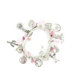 Bracelet with Western Charm, Pink Stone