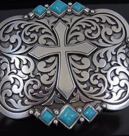 Nocona Belt Buckle - Cross and Turquoise Stones