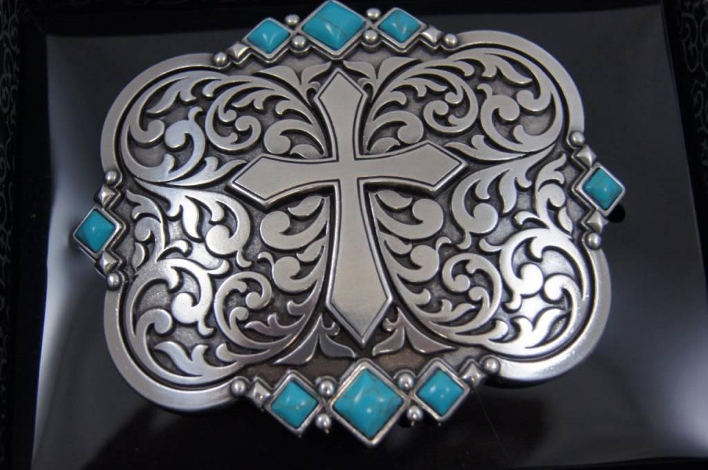 Nocona Belt Buckle - Cross and Turquoise Stones