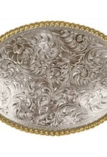 Nocona Belt Buckle - Western Scrolling with Rope Edge