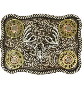 Nocona Belt Buckle - Buck Skull with Shot Gun Shells and Rope Edge