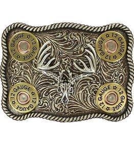 Nocona Belt Buckle - Buck Skull with Shot Gun Shells and Rope Edge
