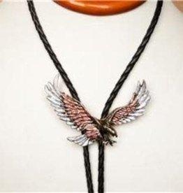 Rockmount Bolo Tie - Silver And Tri-Color Eagle