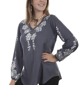 Scully Leather Women's Scully Long Sleeve V-Neck w/ Embroidery