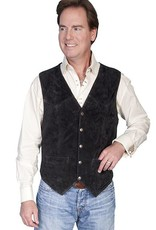 Scully Men's Scully Black Calf Suede Snap Front Vest - Plus Sizes
