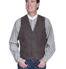 Scully Men's Scully Brown Lambskin Leather Button Front Vest