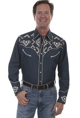Scully Leather Men's Scully Denim Aztec Embroidered Shirt