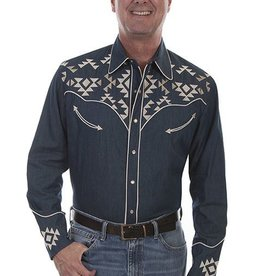 Scully Men's Scully Denim Aztec Embroidered Shirt