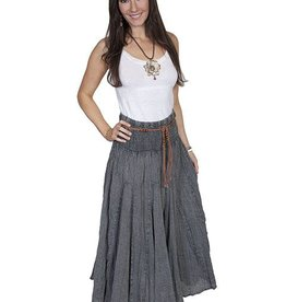 Scully Women's Scully Cantina Acid Wash Skirt w/ Beaded Cord Belt