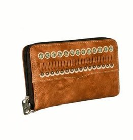 Wallet - Brown Zippered with Turquoise Accents