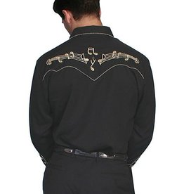 Scully Men's Scully Music Staff Embroidered Shirt