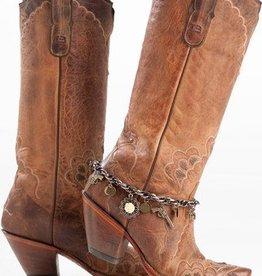 Redneck Couture Sue Ellen Boot Bracelet Turquoise Tassle Rose
