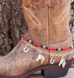 Central Texas Leather Boot Candy Lucky Horseshoes Red Black Adult