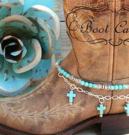 Central Texas Leather Boot Candy, Turquoise Cross Turq Cross Adult