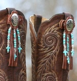 Central Texas Leather Boot Toppers - Turquoise Adult