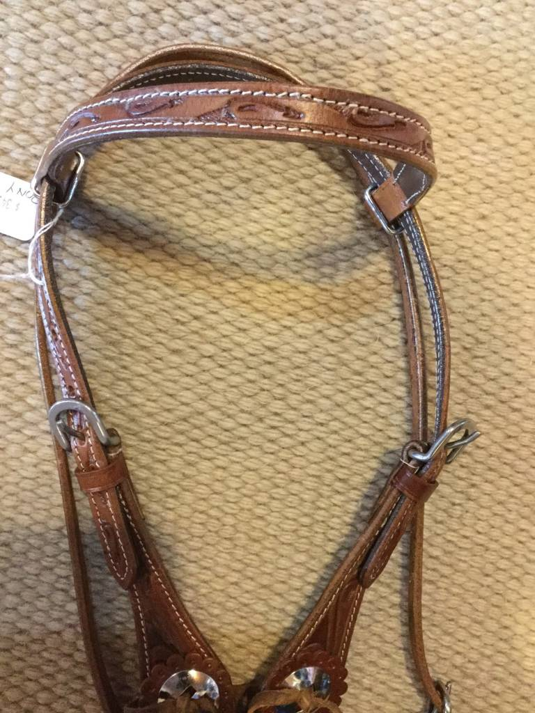 Lamprey Browband Headstall with Concho Tie Ends - Pony Size