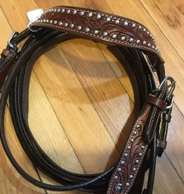 Lamprey Spotted Headstall with Reins - Brown, Mini Size