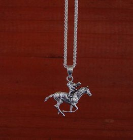 Baron Silver Necklace - Horse Racing Pendant