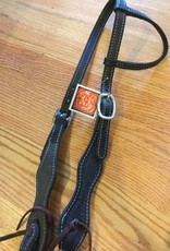 Circle L Circle L Scalloped One Ear Headstall - Horse Size Blk Shell Tooled