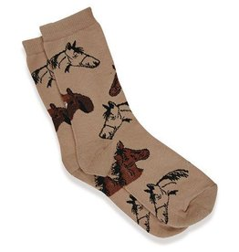 GT Reid Adult's Socks, Horse Heads Brown Foot size 9-11