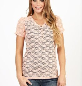 Women's Adiktd Stretch Lace Henly Peach/Navy Shirt - SALE $15  Medium