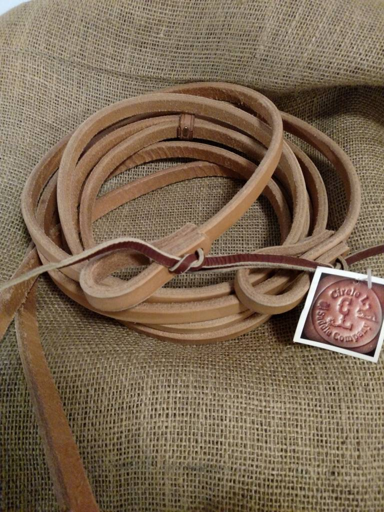 Circle L Circle L Leather Split Reins with Tie Ends, U.S.A. Made - 7' Long