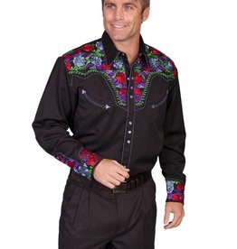 Scully Leather Men's Scully Multi-Color Floral Tooled Embroidery