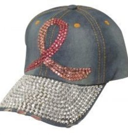 Couture Pink Ribbon Denim Hat