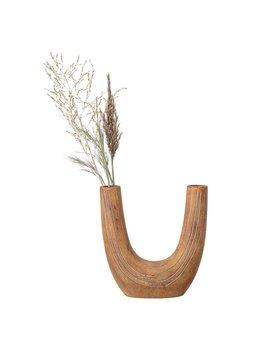 Bloomingville Hand Painted Terracotta U Shaped Vase w/ 2 Openings
